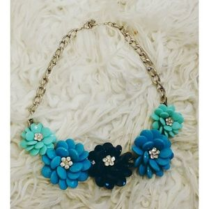 Beaded Silver Flower Necklace